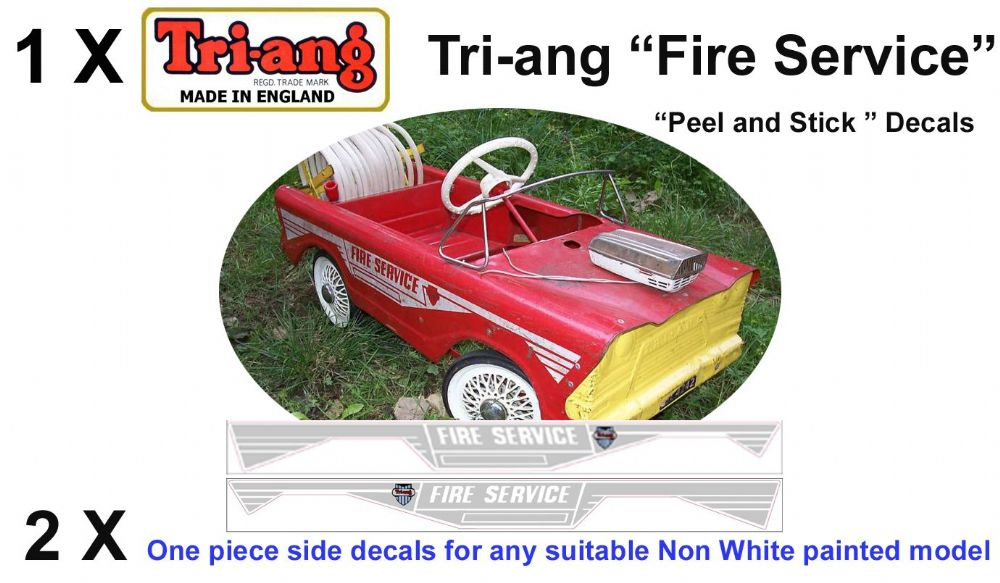 "Set decals "" Peel & stick "" Side & Rear decals for Tri-ang Triang "" FIRE SERVICE Pedal Car"